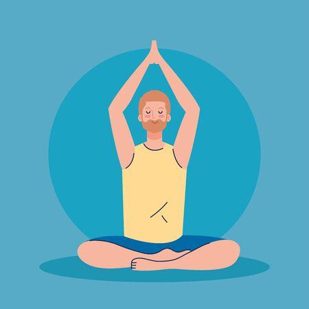 man meditating, concept for yoga, meditation, relax, healthy lifestyle illustration design Vecteurs
