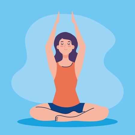 woman meditating, concept for yoga, meditation, relax, healthy lifestyle illustration design