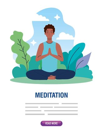 banner of man afro meditating, concept for yoga, meditation, relax, healthy lifestyle in landscape illustration design