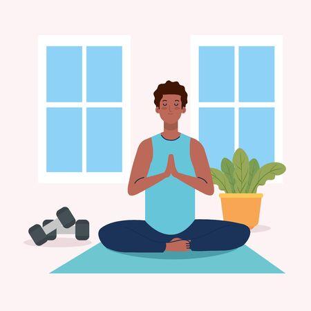 stay home, be safe, man afro meditating, yoga meditation relax, stay at home quarantine, be careful illustration design
