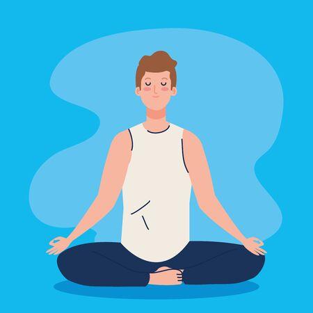 man meditating, concept for yoga, meditation, relax, healthy lifestyle illustration design