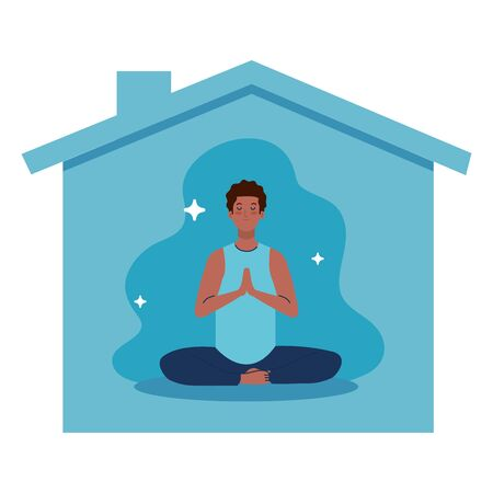 stay home, be safe, man afro meditating and facade house, during stay at home quarantine, be careful illustration design Vectores