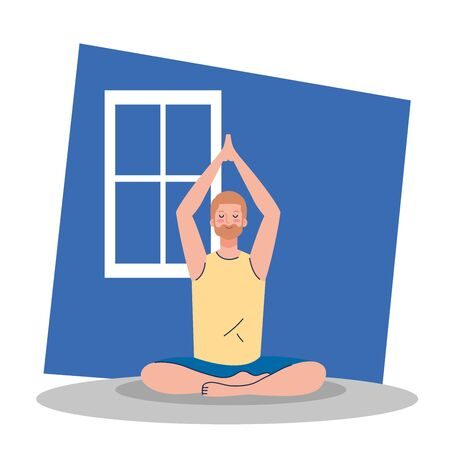 stay home, be safe, man meditating, yoga meditation relax, during  stay at home quarantine, be careful illustration design Vectores