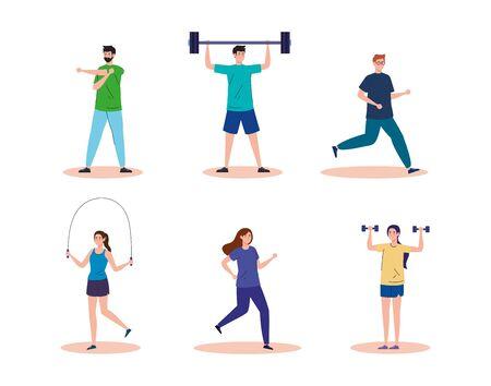 sport, group people practicing sport, healthy lifestyle illustration design Stock Illustratie