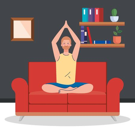 stay home, be safe, man meditating in the living room, sitting in couch, during  stay at home quarantine, be careful illustration design