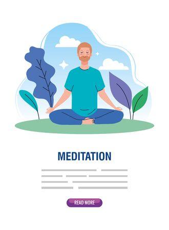 banner of man meditating, concept for yoga, meditation, relax, healthy lifestyle in landscape illustration design Vectores