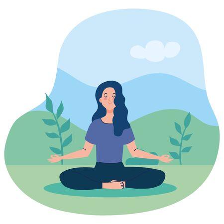 woman meditating, concept for yoga, meditation, relax, healthy lifestyle in landscape illustration design