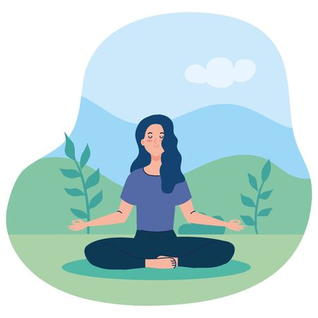 woman meditating, concept for yoga, meditation, relax, healthy lifestyle in landscape  illustration design Vectores