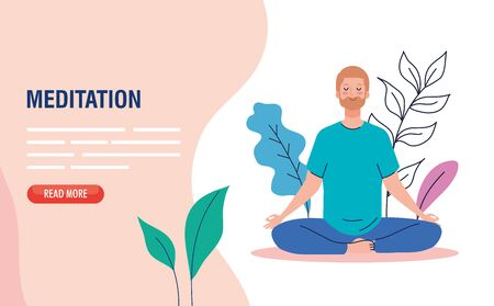 banner of man meditating, concept for yoga, meditation, relax, healthy lifestyle in landscape  illustration design