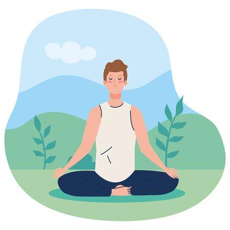 man meditating, concept for yoga, meditation, relax, healthy lifestyle in landscape illustration design