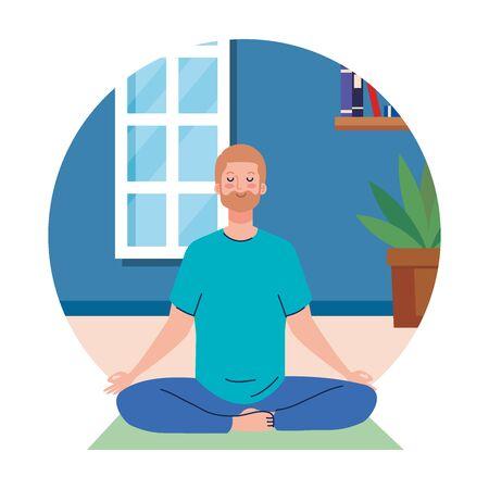 stay home, be safe, man meditating, yoga meditation relax, during stay at home quarantine, be careful illustration design