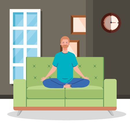stay home, be safe, man meditating in the living room, sitting in couch, during stay at home quarantine, be careful illustration design Vectores