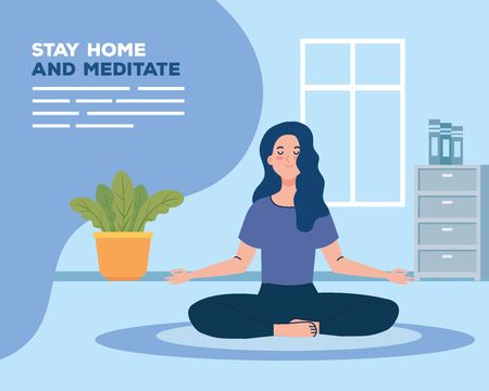 banner of stay home, be safe, woman meditating, during stay at home quarantine, be careful illustration design