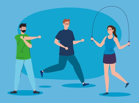 sport, group people practicing sport, healthy lifestyle vector illustration design