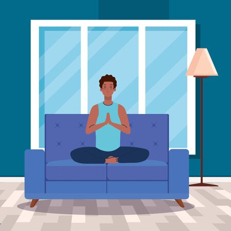 stay home, be safe, man afro meditating in the living room, sitting in couch, during  stay at home quarantine, be careful illustration design