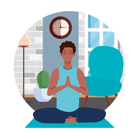 stay home, be safe, man afro meditating in the living room, during  stay at home quarantine, be careful illustration design