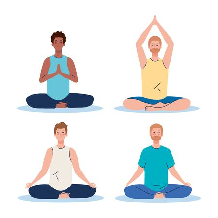 men group meditating, concept for yoga, meditation, relax, healthy lifestyle illustration design