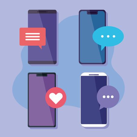 collection of mobile phones, smartphone devices with speech bubbles vector illustration designs