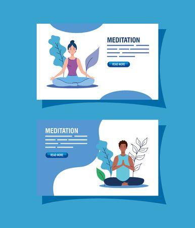 set banner of people meditating, concept for yoga, meditation, relax, healthy lifestyle in landscape illustration design