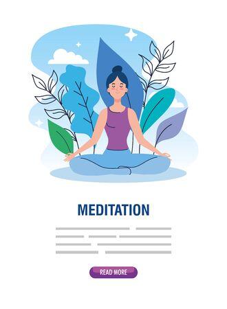 banner of woman meditating, concept for yoga, meditation, relax, healthy lifestyle in landscape illustration design