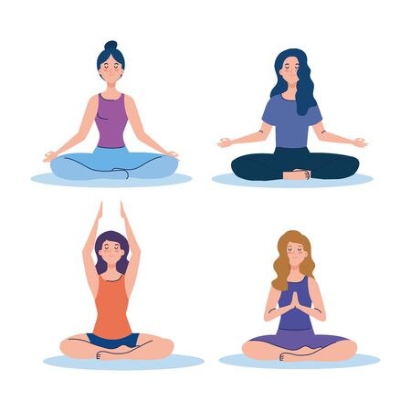 women group meditating, concept for yoga, meditation, relax, healthy lifestyle illustration design