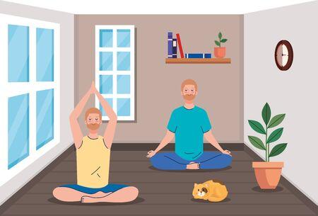 stay home, be safe, men group meditating, during stay at home quarantine, be careful illustration design