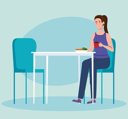 social distance in new concept restaurant, woman eating on table, protection, prevention of virus  illustration design