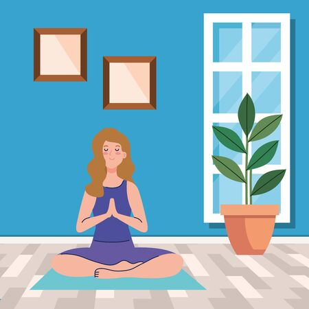 stay home, be safe, woman meditating, during stay at home quarantine, be careful illustration design Vectores