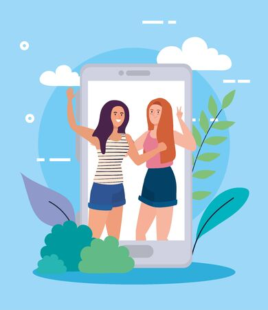 happy characters, young women in smartphone, friendship excitement, online celebration vector illustration design