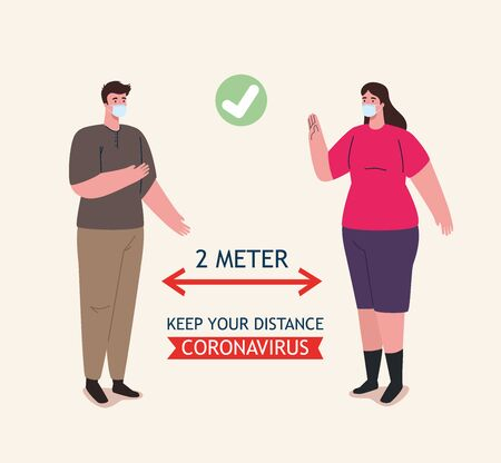 social distancing, stop coronavirus two meter distance, keep distance in public society to people protect from covid 19, couple wearing medical mask against coronavirus vector illustration design