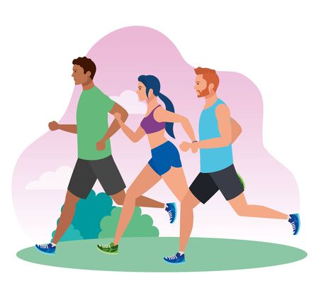 men and woman running in landscape, people in sportswear jogging, persons athlete, sporty persons vector illustration design