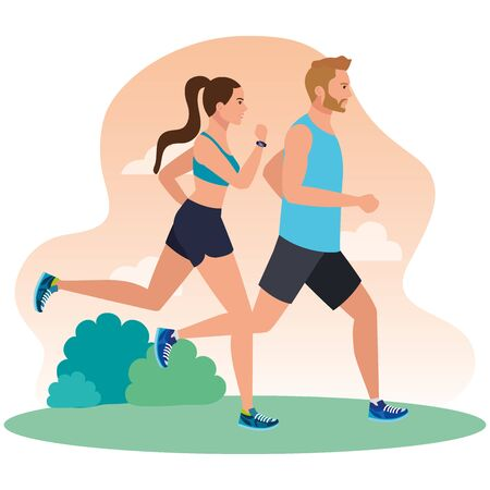 couple running in landscape, woman and man in sportswear jogging, people athlete, sporty persons vector illustration design