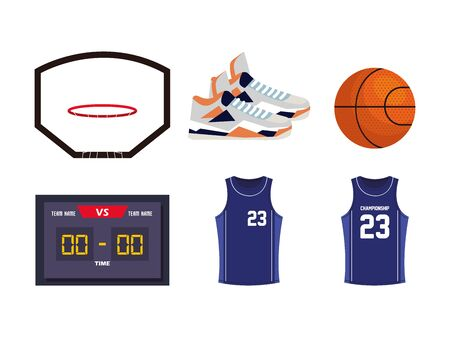 set of basketball icons, contains such icons as hoops basket, shoes, ball, score board, shirts vector illustration design Illustration