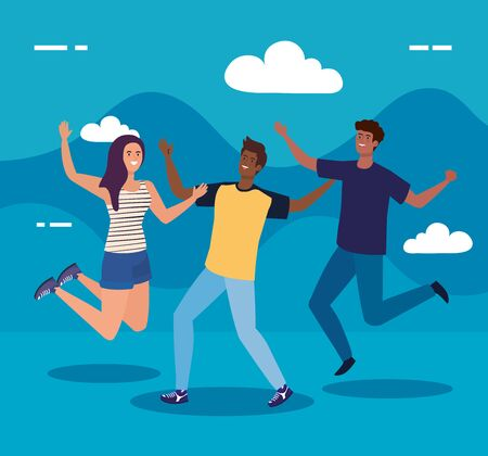 happy characters, young men with woman , friendship excitement, cheerful laughing from happiness vector illustration design