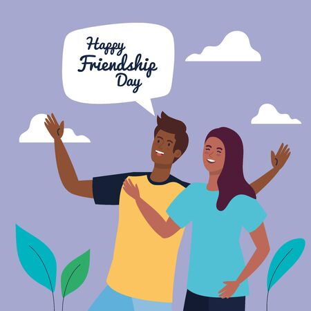 happy friendship day, young woman with man, friendship excitement, cheerful laughing from happiness vector illustration design