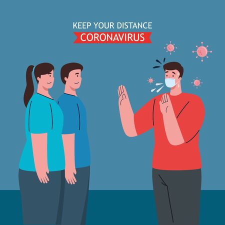 social distancing, keep distance in public society to people protect from covid 19, people wearing medical mask against coronavirus vector illustration design