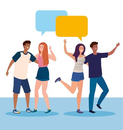 happy characters, young people talking, friendship excitement, cheerful laughing from happiness, with speech bubbles vector illustration design Иллюстрация