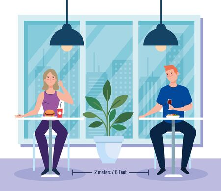 social distance in new concept restaurant , couple eating on tables, protection, prevention of coronavirus covid 19 vector illustration design