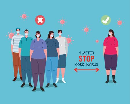 social distancing done in the wrong and correct way, people keeping safe distance, prevention coronavirus covid 19 vector illustration design Vecteurs