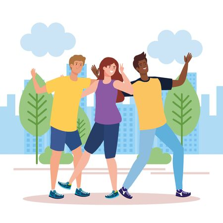 happy characters, young men with woman , friendship excitement, cheerful laughing from happiness in landscape vector illustration design