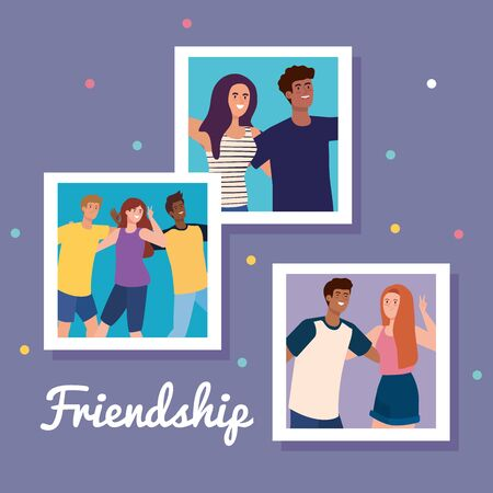 happy characters, set photos of young people happy, friendship excitement, cheerful laughing from happiness vector illustration design