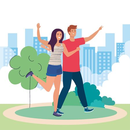 happy characters, young woman with man, friendship excitement, cheerful laughing from happiness in landscape vector illustration design Иллюстрация