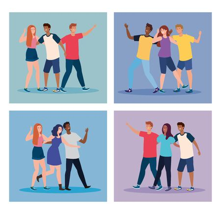 set scenes of happy characters, young people, friendship excitement, cheerful laughing from happiness vector illustration design