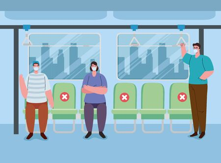 social distancing chairs space inside bus, people wearing medical mask, pandemic reducing risk of infection, social distancing concept vector illustration design