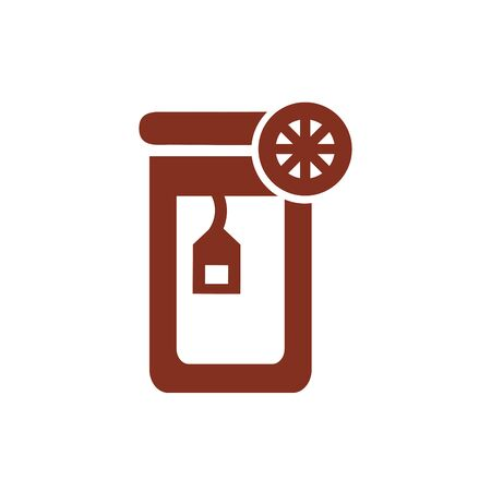 glass with tea lemon half silhouette style icon vector illustration design Vetores