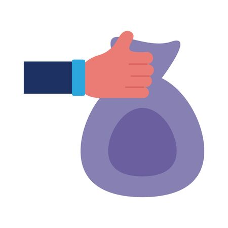 hand giving bag solidarity flat style vector illustration design Foto de archivo - 150373175