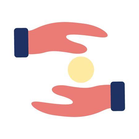 hands humans lifting coins solidarity flat style vector illustration design Foto de archivo - 150360292