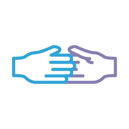 handshake solidarity line style vector illustration design Foto de archivo - 150373563