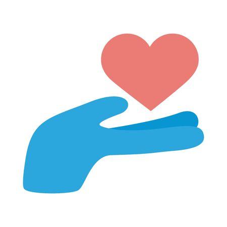hand lifting heart solidarity flat style vector illustration design Foto de archivo - 150373595