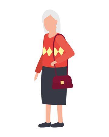 cute old woman comic character vector illustration design